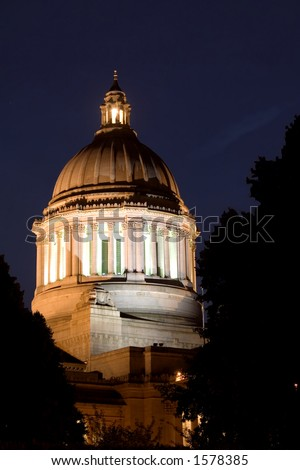 The Washington State Capitol Building lights up the night.