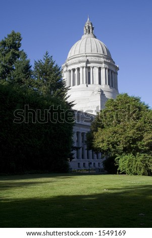 The Washington State Capitol Legislative Building. Image taken from behind the Gov's Mansion facing Northwest.