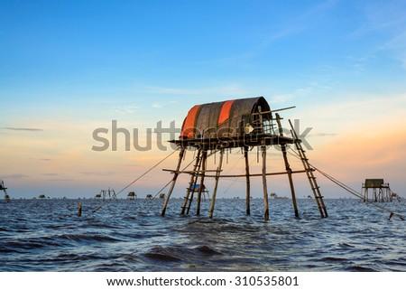 the watch towers of fishermen at Dong chau beach, Thai binh, Vietnam - stock photo