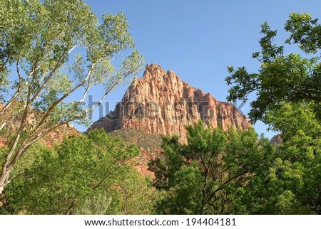 The Watchman Mountain at Zion National Park in Utah,USA - stock photo