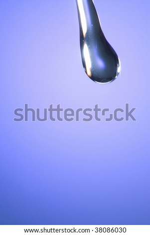 The water drops running from the top beams and light blue background.