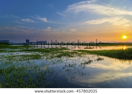 The water of the sunset - stock photo