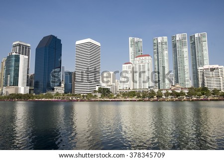 the water park and Bangkok city town ,cityscape  - stock photo