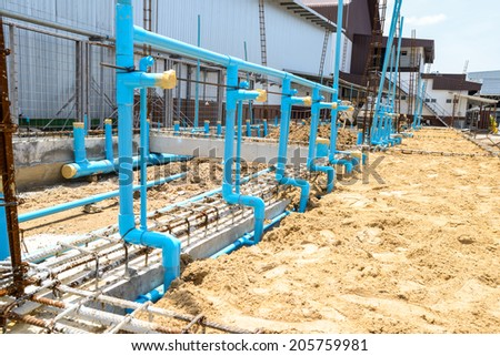 The water supply in pipeline construction. - stock photo