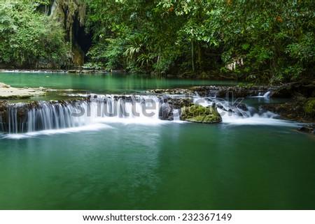 The waterfall at Than Bok Khorani National Park Krabi, Thailand - stock photo