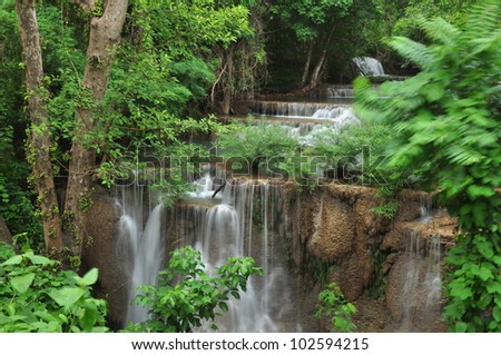 The waterfall in the west of Thailand. - stock photo