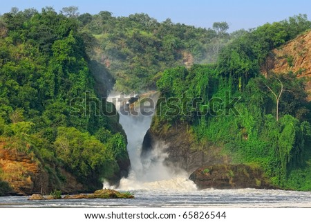The waterfall Murchison Falls on the Victoria Nile river, northern Uganda - stock photo