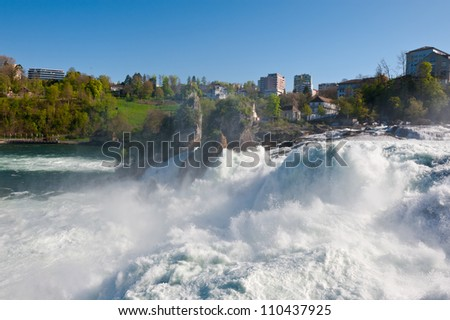 The Waterfall of the Rhine on a Sunny Day