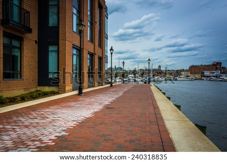 The Waterfront Promenade in Fells Point, Baltimore,   Maryland. - stock photo