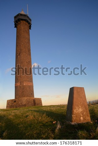 The Waterloo Monument and trig point in the Scottish Borders.  The monument, near Ancrum, was constructed in 1824.