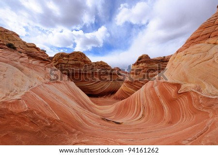 The Wave, Famous rock formation in Pariah Canyon - stock photo