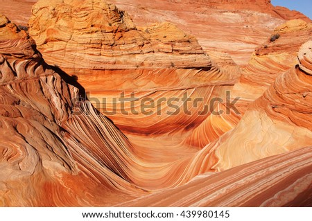 The Wave in the Vermilion Cliffs National Monument,  a National Park located in Arizona in the United States.