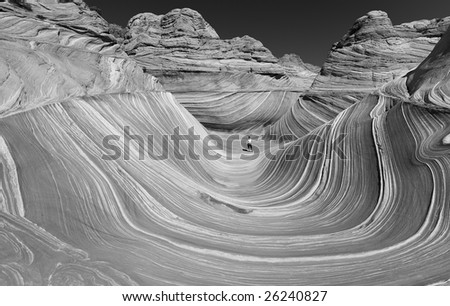 The Wave of Coyote Buttes in the Vermillion Cliffs Wilderness Area, Utah and Arizona - stock photo