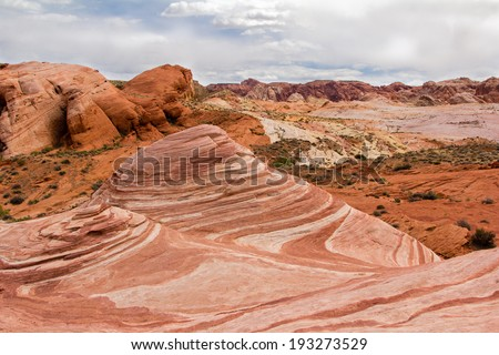 The Wave Rock at Valley of Fire State Park/ The Wave/ The wave Rock at the Valley of Fire State Park outside of Las Vegas, Nevada. - stock photo