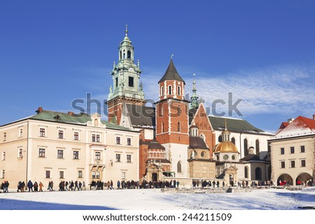 The Wawel castle in Krakow, Poland - stock photo