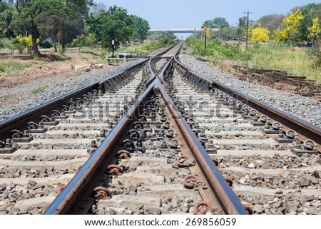 The way forward railway of detail - stock photo