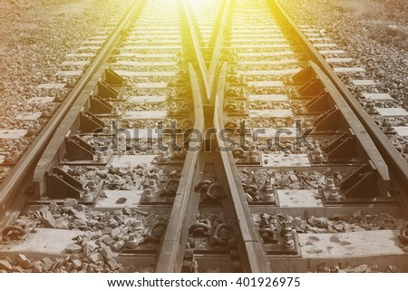 The way forward railway,vintage effect and morning light effect. - stock photo