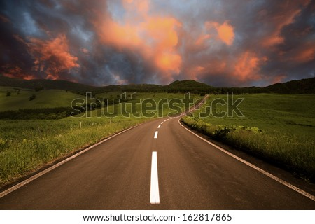 The way of a morning glow - stock photo