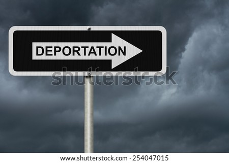 The way to Deportation, Black and white street sign with word Deportation with stormy sky background - stock photo