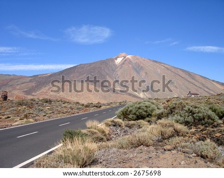 The way to the volcano - stock photo