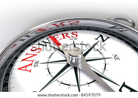 the way towards answers indicated by compass - stock photo
