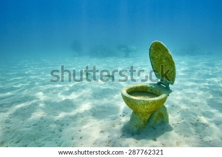 The WC toilet lying on the sea floor near the wrecked ship, Red Sea, Egypt, Africa                               - stock photo