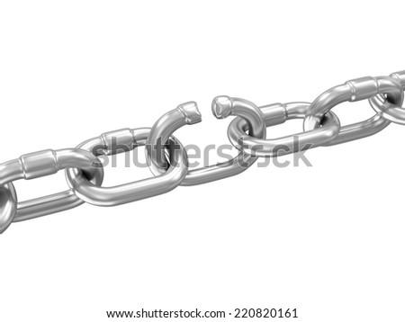 The Weakest Link Concept. Broken Metal Chain isolated on white background - stock photo