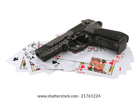 The weapon on playing cards isolated on white background - stock photo