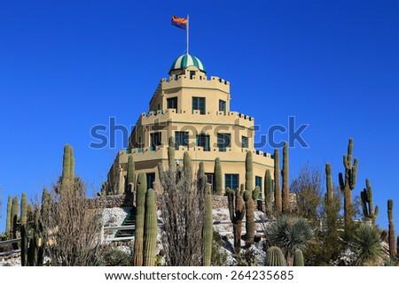 The wedding cake architectural style makes historic Tovrea Castle a unique fixture in central Phoenix, Arizona. - stock photo