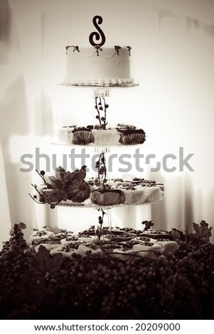 the wedding cake with letter S on top - stock photo
