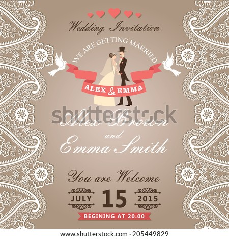 The wedding invitation with groom ,bride in Retro style with vignettes,ribbon,pigeons,Imitation lace in Paisley motif.Wedding invitation design template.