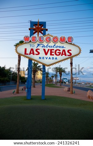 """The """"Welcome to Fabulous Las Vegas"""" Neon sign with a sky blue background - stock photo"""