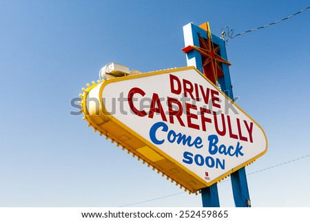 The Welcome to Fabulous Las Vegas sign is a Las Vegas landmark funded in May 1959 and erected soon after by Western Neon. The sign was designed by Betty Willis. - stock photo