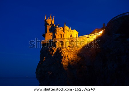The well-known castle Swallow's Nest near Yalta - stock photo
