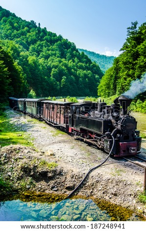 The Well known Mocanita train in Vaser Valley, Maramures County runs on the railway constructed in 1933-1935 - stock photo