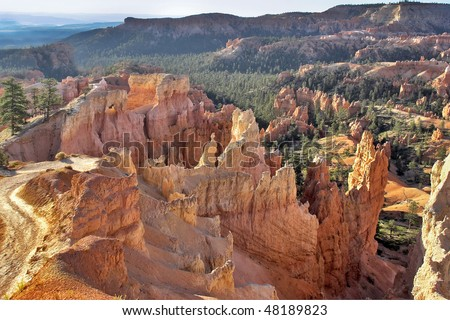 The well-known orange rocks in Bryce canyon in state of Utah USA - stock photo