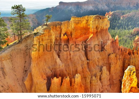 The well-known pink rocks in Bryce canyon in state of Utah USA - stock photo