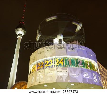 The Weltzeituhr (World Clock) at Alexanderplatz, Berlin, Germany, Europe - stock photo