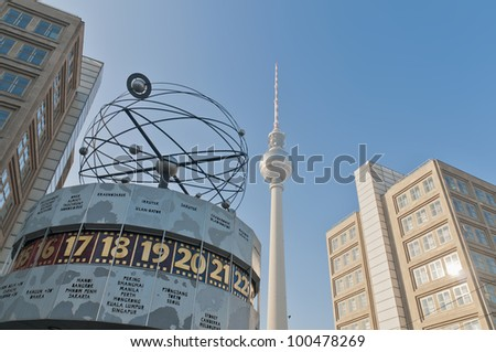 The Weltzeituhr (World Clock) at Alexanderplatz in Berlin