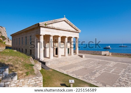 The west facade of the Church of St. George at the Old Fortress on the Corfu island, Greece. - stock photo