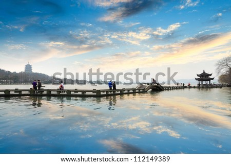 the west lake at afterglow in hangzhou,China - stock photo
