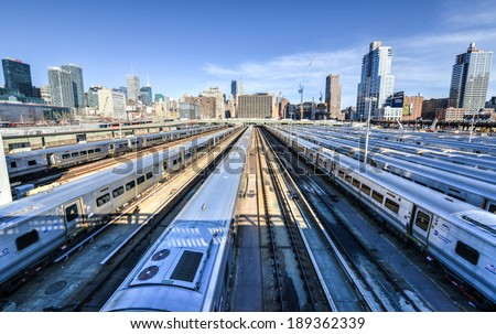The West Side Train Yard for Pennsylvania Station in New York City from the Highline. View of the railcars for the Long Island Railroad. The future site of the Hudson Yards Redevelopment Project. - stock photo