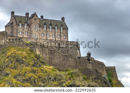 The Western Defences at Edinburgh Castle. This exposed part of the castle was developed in the 17th century to accommodate the expanding garrison as well as offering extra protection for this side.  - stock photo