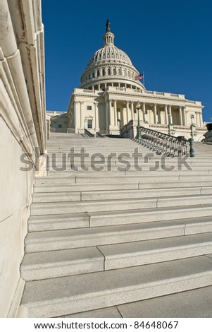 The western facade and dome of the US Capitol in Washington, DC. - stock photo