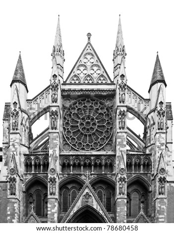 The Westminster Abbey church in London, UK - rectilinear frontal view - stock photo