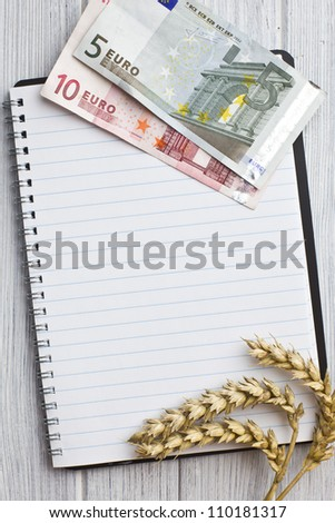 the wheat ears and euro money on notebook