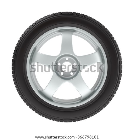 the wheel with a new tire on a white background