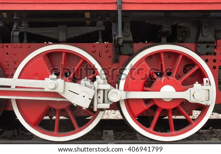 the wheels of a steam locomotive