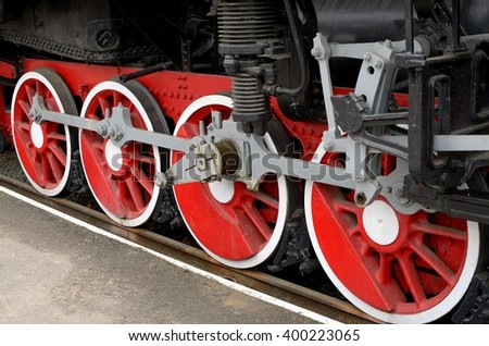 the wheels of the locomotive.