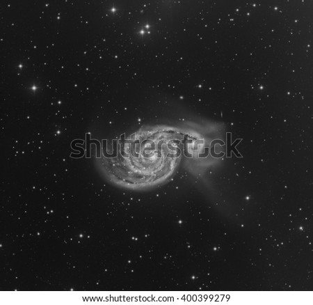 The Whirlpool Galaxy in the Constellation Canes Venatici - stock photo
